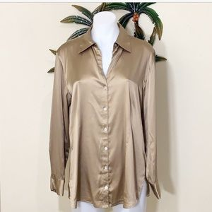 Chico's gold silk long sleeve button down blouse